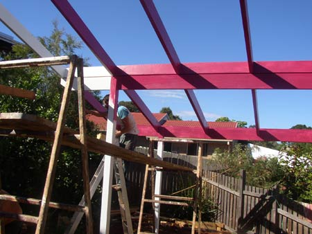 painting verandah rafters