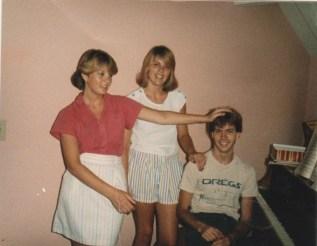 With my sisters, 1985