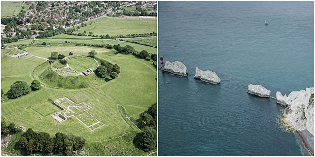views from microlight aircraft of iow