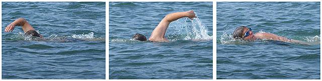 Charity Sea Swimmer Doing The Crawl Off Southsea Beach