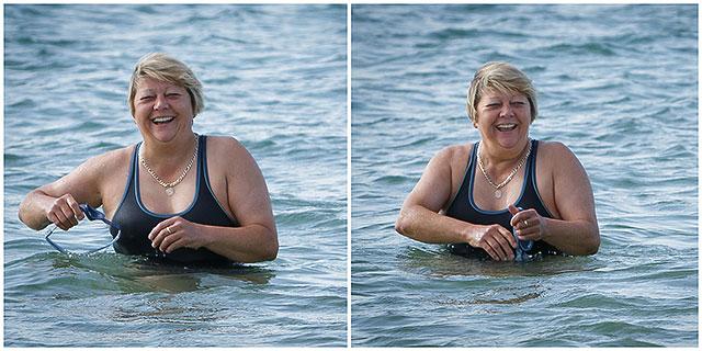 Female Charity Sea Swimmer Preparing To Swim