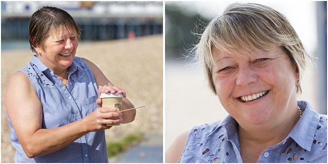 Female Sea Swimmer Drinking Coffee On Beach After Swim