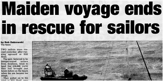 Local Paper Clipping Of Maiden Voyage Rnli Sea Rescue