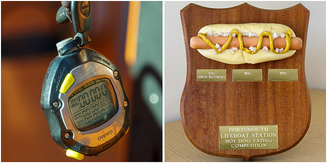 Trophy For Eating The Most Hot Dogs In A Set Time With Stop Watch