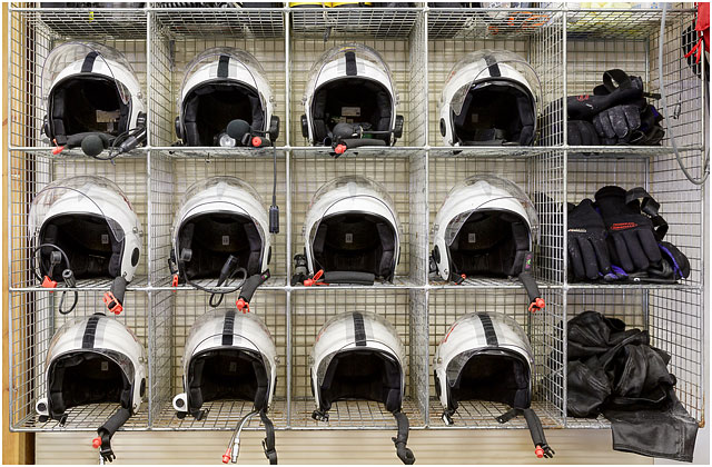 Portsmouth RNLI Station Crew Room Helmets Stored In Wire Rack