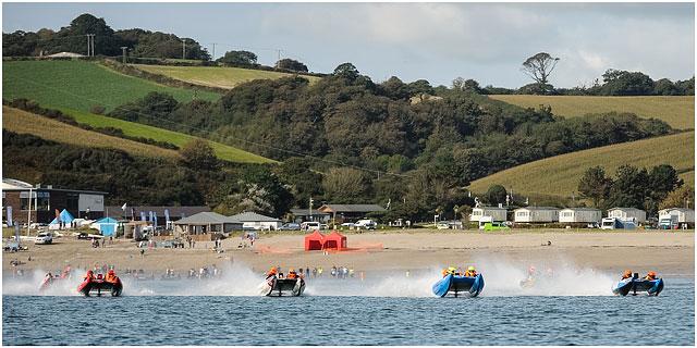 Zapcat Power Boats Starting Race Along Sea Shore