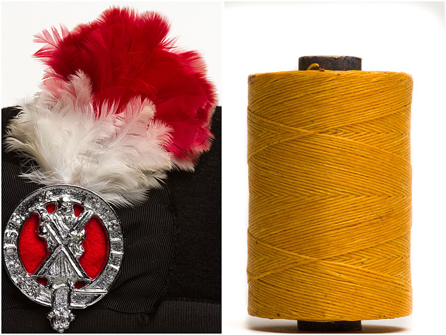 Rose & Thistle Pipe and Drums Band cap badge with Reed thread bobbin