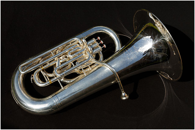 E Flat Bass Tuba On Black Background