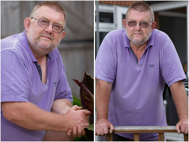 Two Portraits Of Same Man With Glasses And Purple Top
