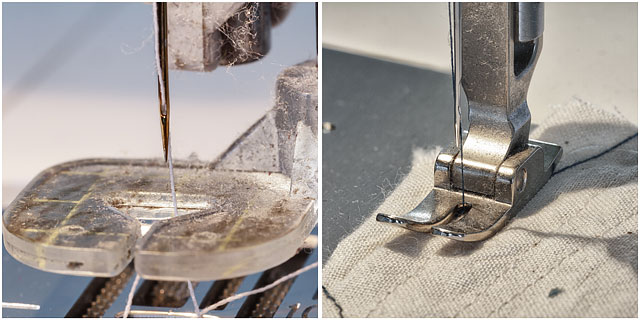 Close Up Of Different Sewing Machine Feet With Needles