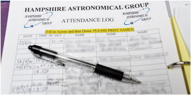 Hampshire Astronomical Group attendance log