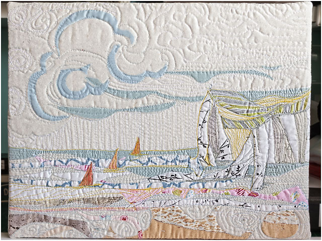 Low Key Quilted Textile Picture Childhood Memory