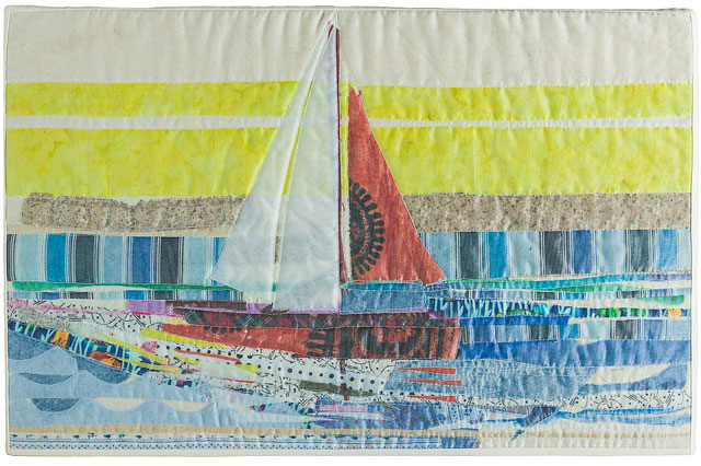 Quilted Textile Picture Of Seascape Scene With Sail Boat And Water