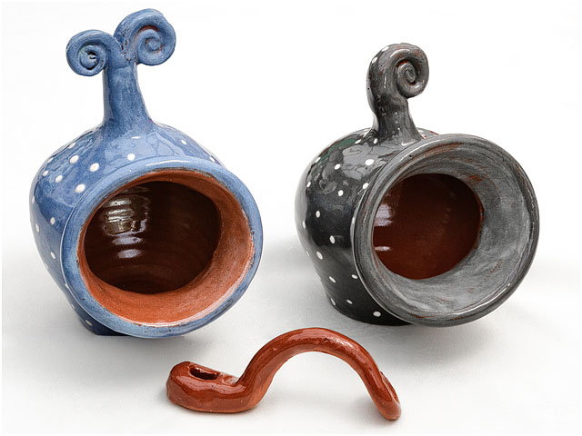 Glazed Clay Salt Pepper Jugs