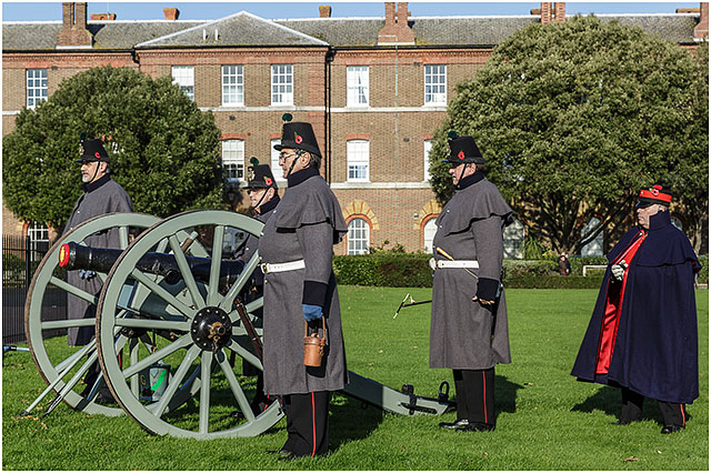 Awaiting Instructions to Fire Three Pounder Cannon at 2014 Remembrance Day Service Royal Marines Museum