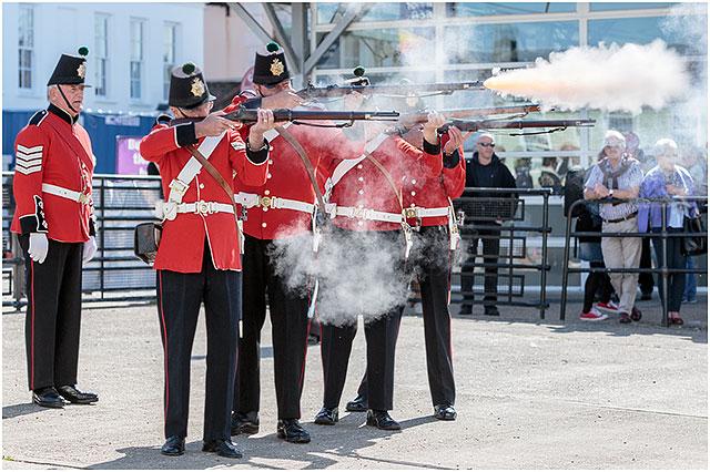 1830 Fort Cumberland Guard Musket Firing Portsmouth Historic Dockyard Demonstration