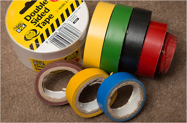 Various rolls of coloured electrical tape