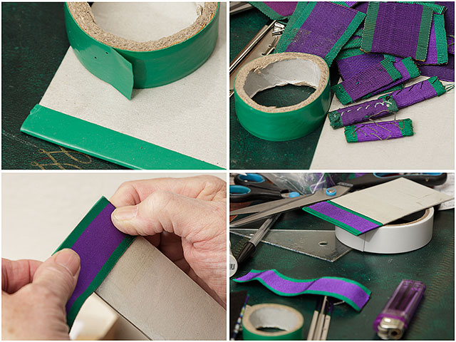 Mounting medal ribbons and using electricians tape for the finishing touches