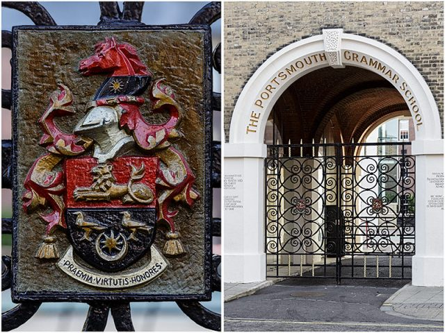 portsmouth grammar school entrance gate with coat of arms