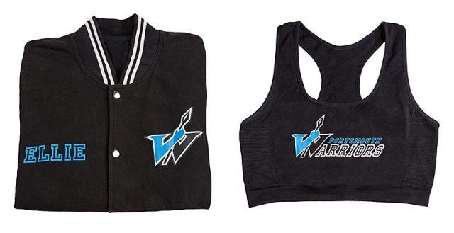 portsmouth warriors cheerleading varsity jacket and sports bra
