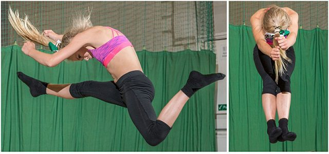 Individual cheerleader jumps