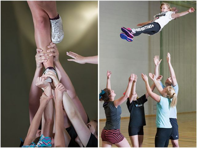 supporting hands during training