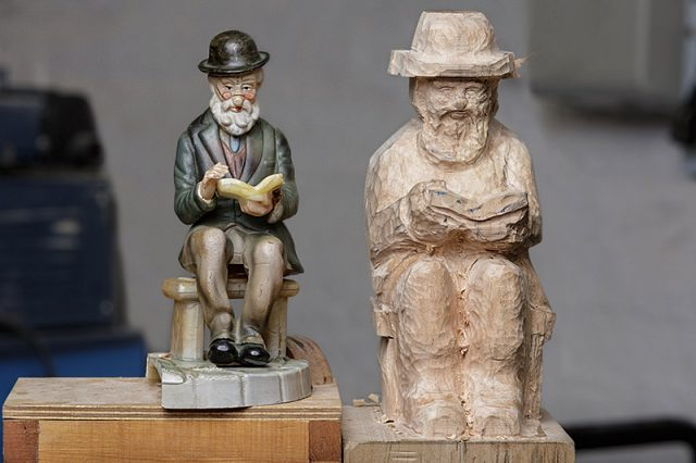 Reference figure and work in progress carving
