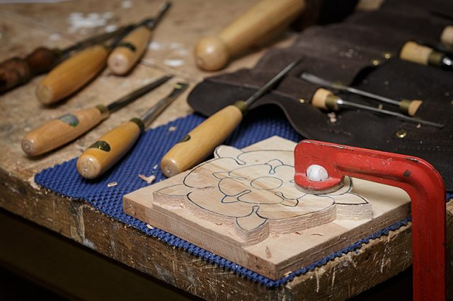 close up of woodcarving at carve-In day for solent guild of woodcarvers and sculptors at portsmouth grammar school