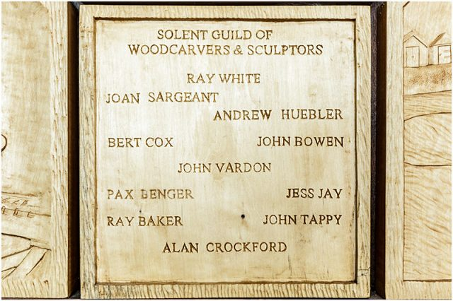 Solent guild of woodcarvers and sculptors members responsible for the havant borough council chamber carving