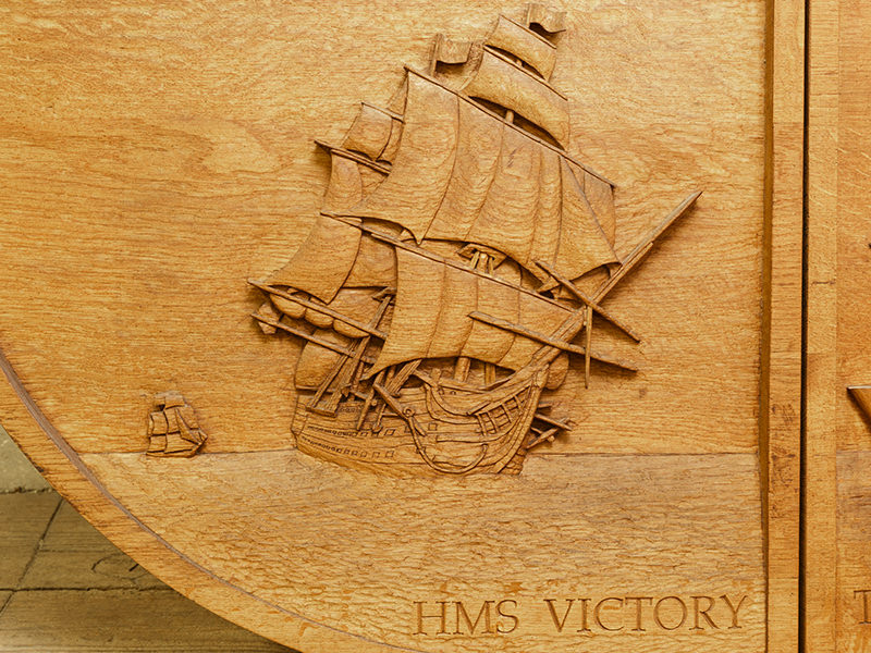 Bicentennial Of Trafalgar Shield Wood Carving Detail By The Solent Guild Of Woodcarvers And Sculptors