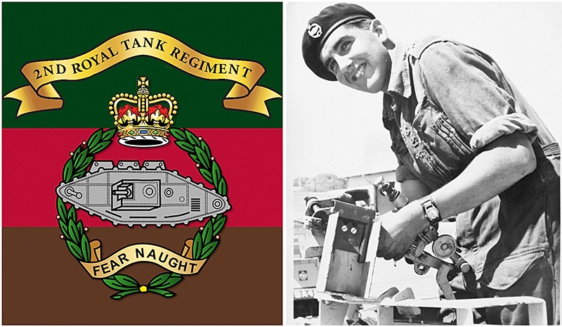 Royal Tank Regiment Crest with Portrait of Peter as a young Army recruit.