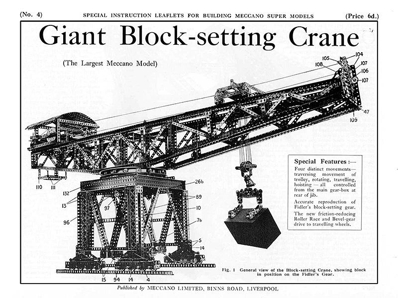 Giant Meccano Block-setting can model diagram