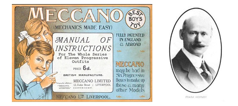 Early Meccano [Mechanics Made Easy] instruction manual with portrait of Frank Hornby