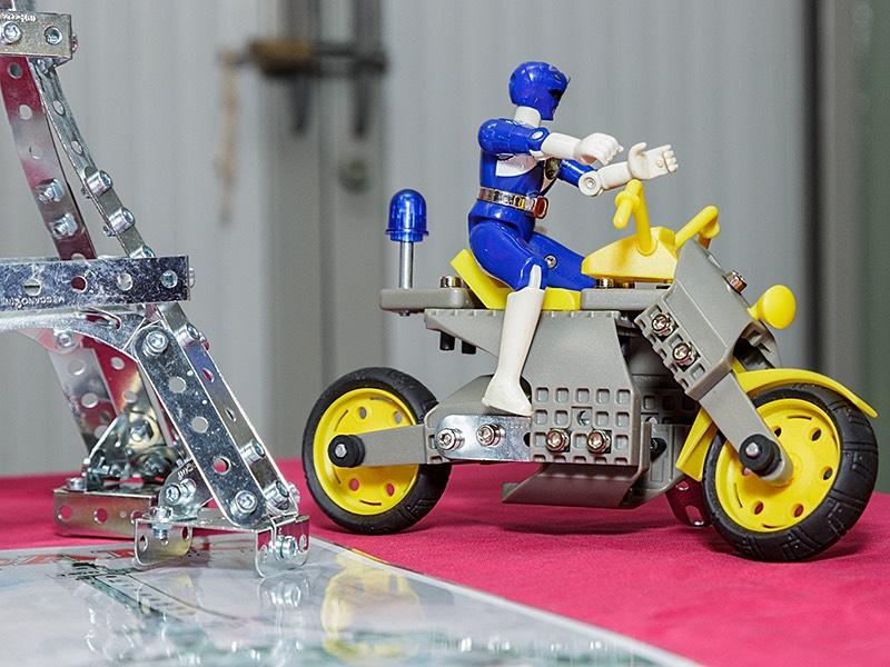 Plastic Meccano motorbike and rider model by Gregg Wormwood