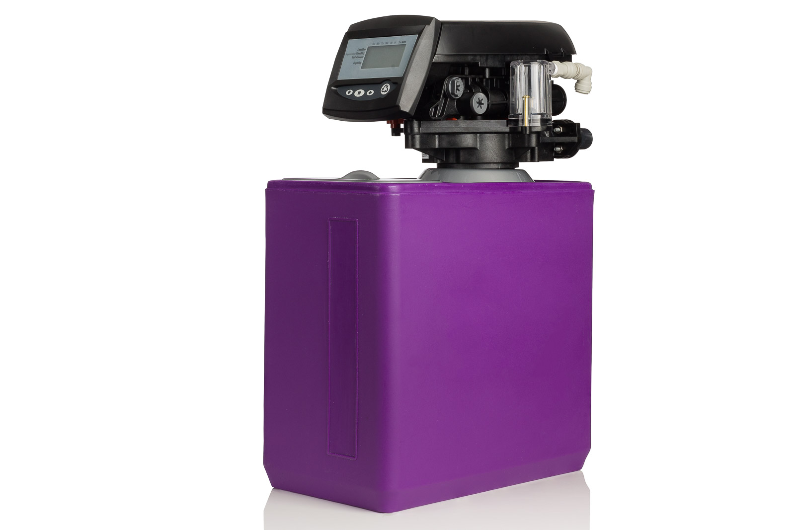 purple tank water softener and timer control on white background