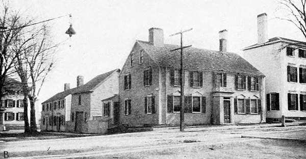 The residence of the Robert Traill family in Portsmouth of New Hampshire before the Revolution. Traill was the first in the province to be permitted to brew and sell ale in an outbuilding next to the residence.