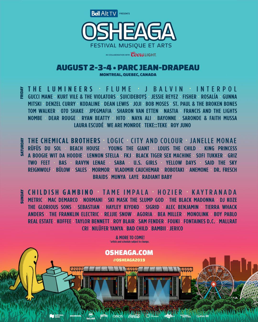 lineup osheaga 2019 artistes