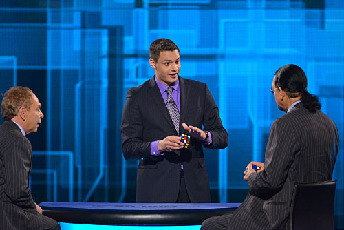 Magician Steven Brundage performs Rubik's Cube Magic for Penn & Teller