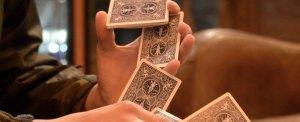 Magician Steven Brundage shuffling a deck of cards