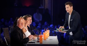 Magician Steven Brundage performs for judges on Americas Got Talent