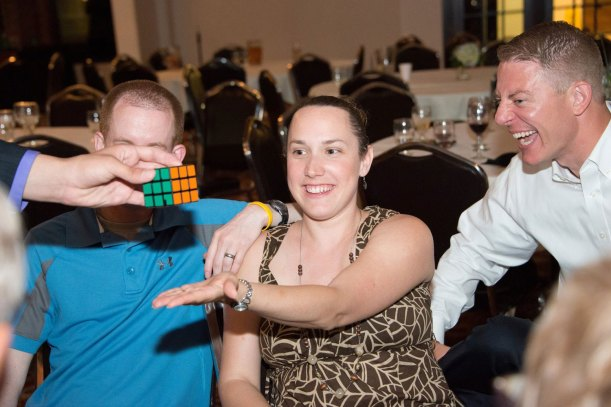 Magician Steven Brundage amazes guests with his Rubik's Cube magic