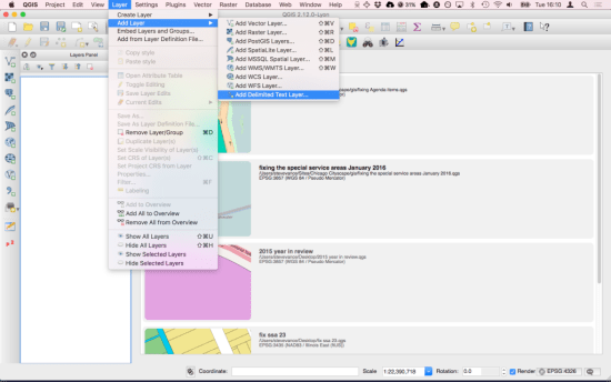 QGIS add delimited text layer