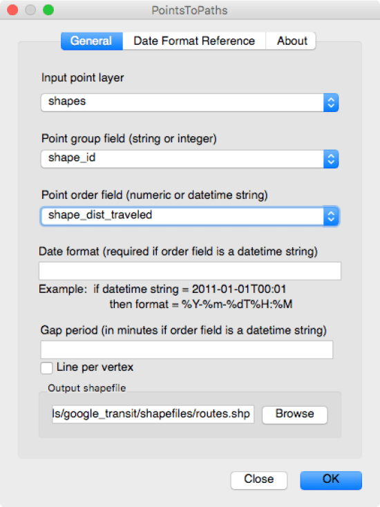 These are the options you need to set to convert the CTA points (stops) to paths (routes).