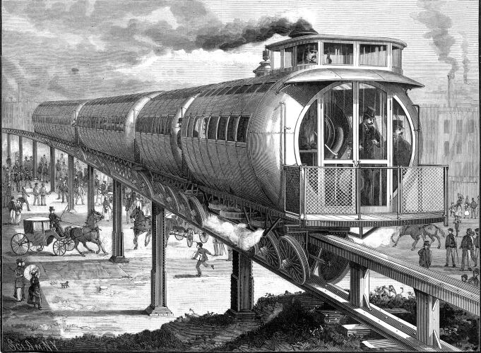 Drawing of the Meigs Elevated Railway monorail.