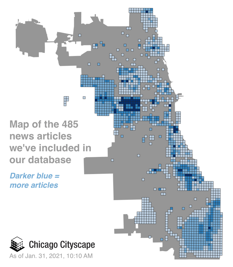 Map of the density of news articles in the Chicago Cityscape database