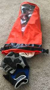 dry bag with riding gloves