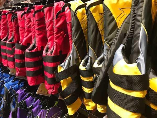 bunch of jet ski life jackets