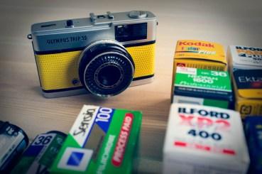 Yellow Olympus Trip 35 & Film