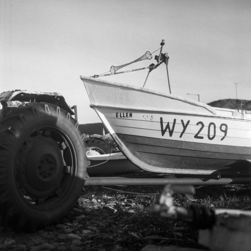 Boat WY209, Saltburn-by-the-Sea. Yashica 124G, Ilford FP4+