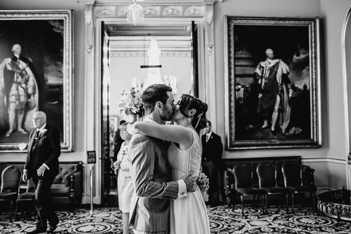 kissing in the reception